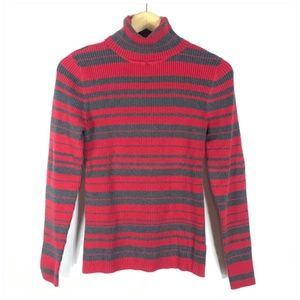 SJB Red Gray Striped Ribbed Turtleneck Sweater